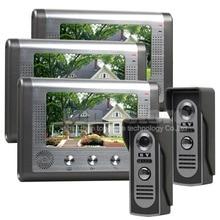 DIYSECUR 3 Monitor de 2 Cámaras 7 pulgadas Teléfono Video Atado con alambre Timbre de la puerta de Entrada de 2 Vías de Intercomunicación IR Cámaras Sistema de Seguridad Para El Hogar
