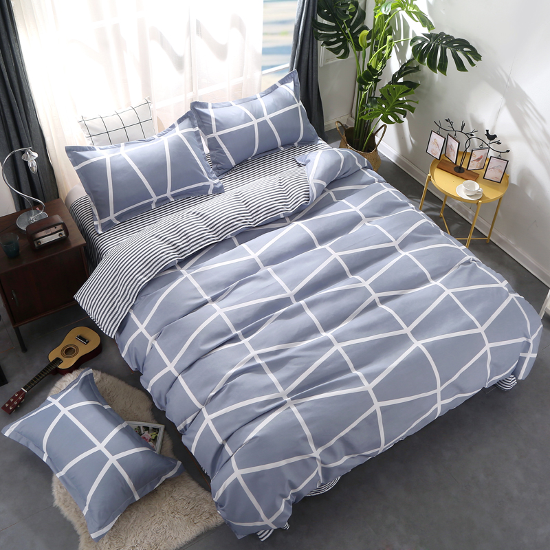 Custom Soft Bedding Sets USA Russia Europe King Queen Size Simple Duvet Cover Set Sheet Set Single <font><b>140*200</b></font> bed linen lattice image