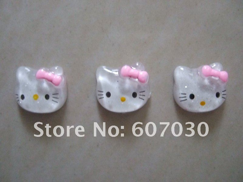 100pcs White Hello Kitty Resin Flatback With Pink Bow Fit For Kid's Ring, phone decoration DIY decoration 17x15mm