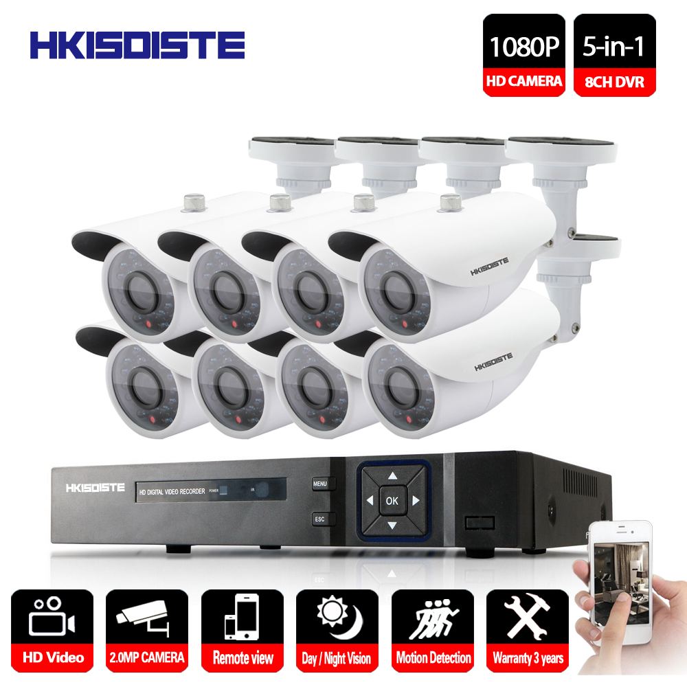 Home Security CCTV Camera System Standalone Kit 8 Channel CCTV HVR DVR NVR AHD DVR 8pcs 1080P Infrared Indoor Built white Camera brauberg папка диагональ цвет синий 221352