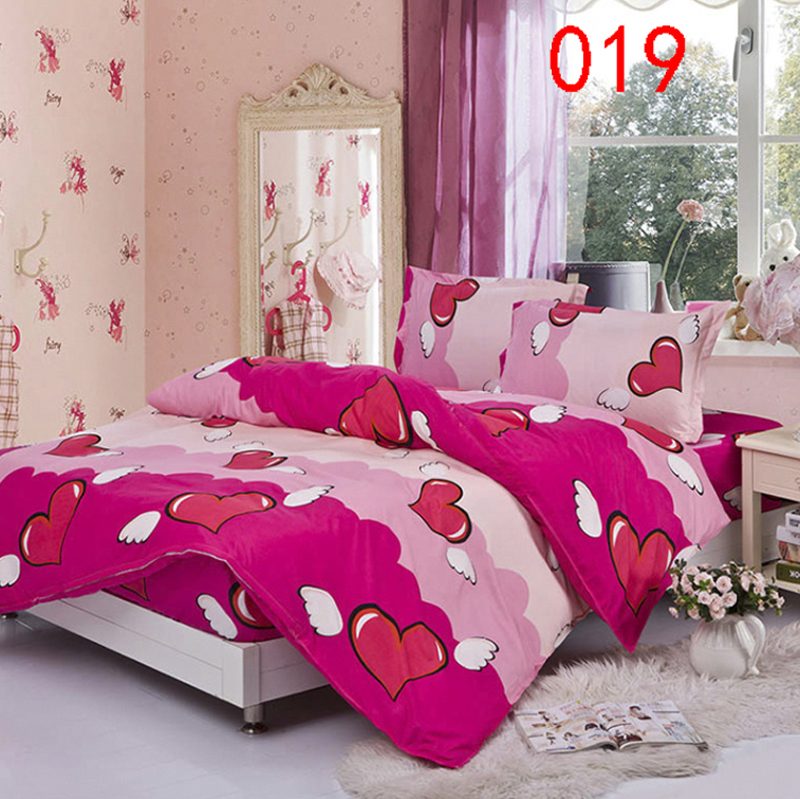 Twin Full Queen Angel Heart Fitted Bed Sheet 4Pcs Bedding Set Bedclothes Bed  Linens Duvet Cover Quilt Cover Sheets Pillowcase In Bedding Sets From Home  ...