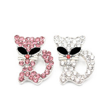 New Arrival Mix2 10pcs/lot Rhinestone cat crystal Snap Buttons Jewelry Fit 18mm Bracelets for women diy