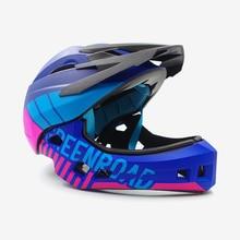 Детский горный велосипедный шлем, Звездный мотоциклетный шлем, на все лицо, для езды на горном велосипеде, детский козырек, красный цвет