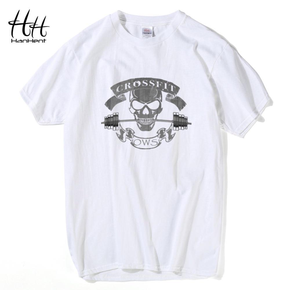 HanHent Yeni Moda Tees Crossfit Kafatası T Shirt Erkekler Spor - Erkek Giyim - Fotoğraf 3