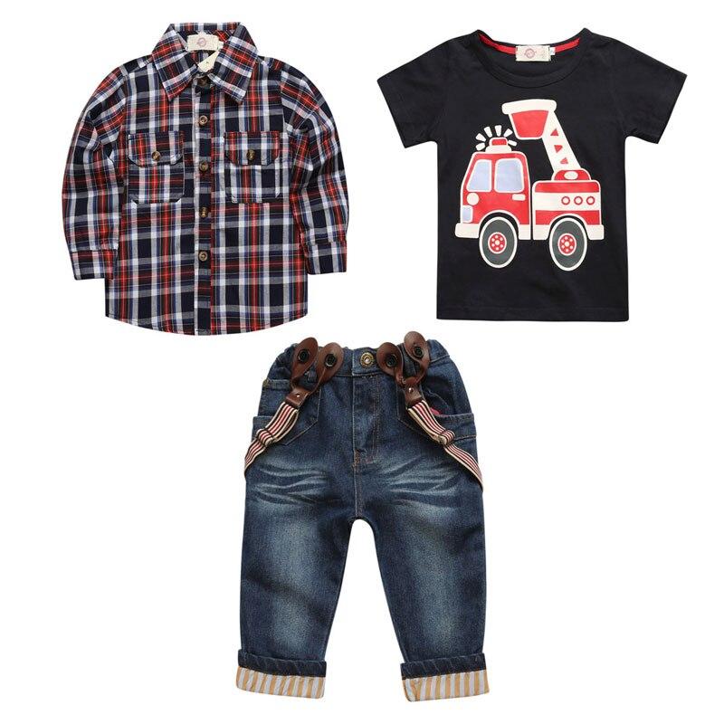 3 PCS Suits Kids Boys Clothes Sets Cotton Child Plaid Shirt+Car T-shirt+Jeans Spring Autumn Children Boys Sets Children Clothing