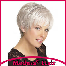Medusa hair products: Sassy pixie cut styles Synthetic pastel wigs for women Short straight Mix color wig with bangs SW0232