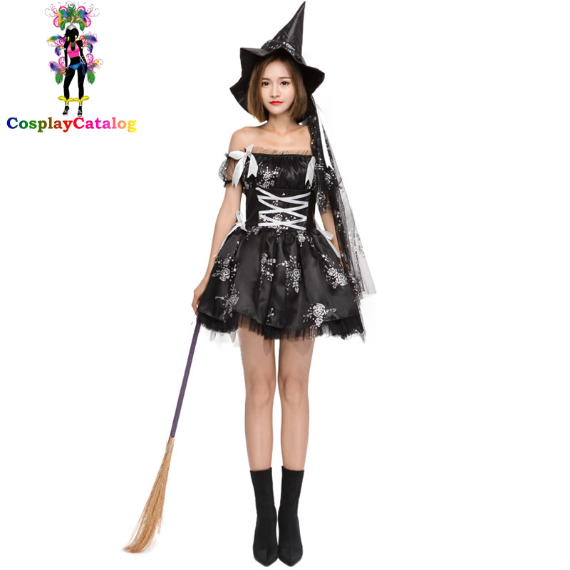 Carnival Goth Style Women Black Witch Costume with Cap Fluffy Skirt Floral Printed Lace Ghost Halloween Sexy Adult Costumes
