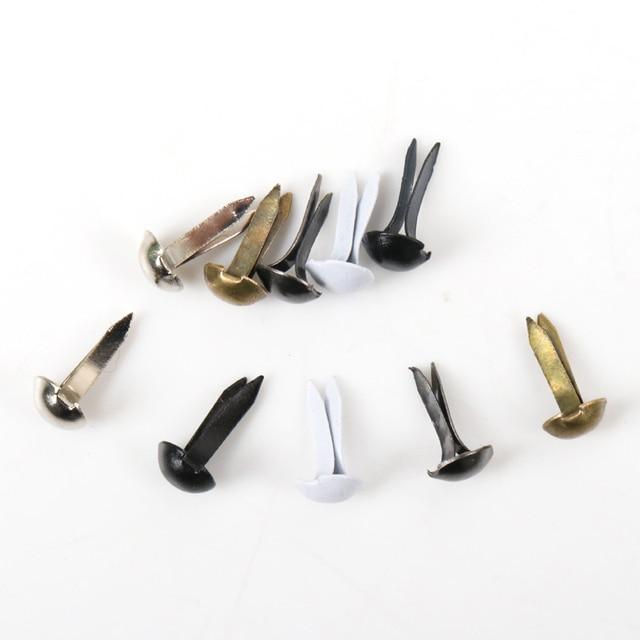 100pcs Mixed Round Metal Brad Studs Spikes Scrapbooking Embellishment Fastener Brads Crafts Pushpin Decoration 5x10mm
