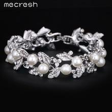 Mecresh Simulated Pearl Bracelets for Women Silver Plated Link Chain Crystal Rhinestone Bridal Wedding Jewelry FemmeSL089