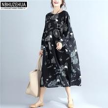 NBHUZEHUA 7G298 4XL 5XL 6XL Plus Size Women Clothing O-Neck Printed Black Long Dress Autumn Spring 2018 New