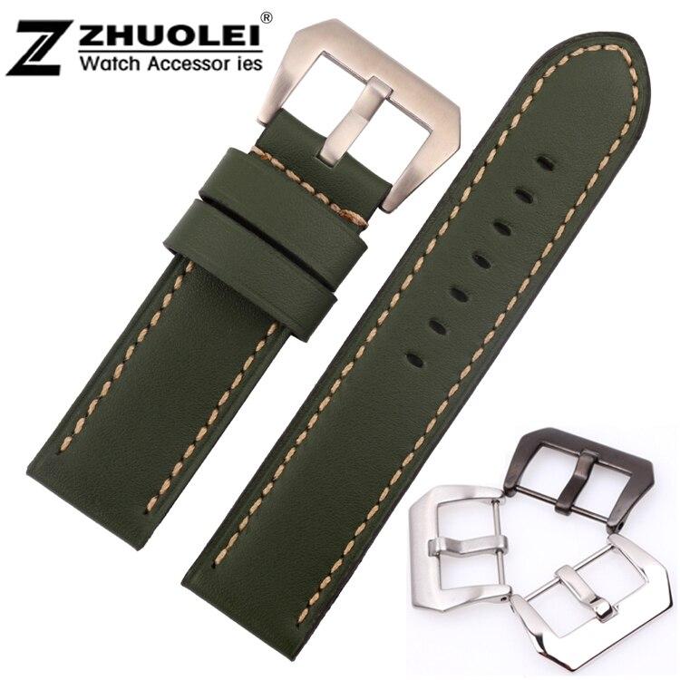 24d0c99f8cfe Estilo caliente 22mm 24mm 26mm nueva Alta Calidad verde Cuero auténtico  reloj banda correa de plata cepillado despliegue acero hebilla de cierre