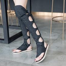 цены Womens Flat Knee High Boots Gladiator Sandals Footwear Shoes Sandalias Mujer Jesus Sandals