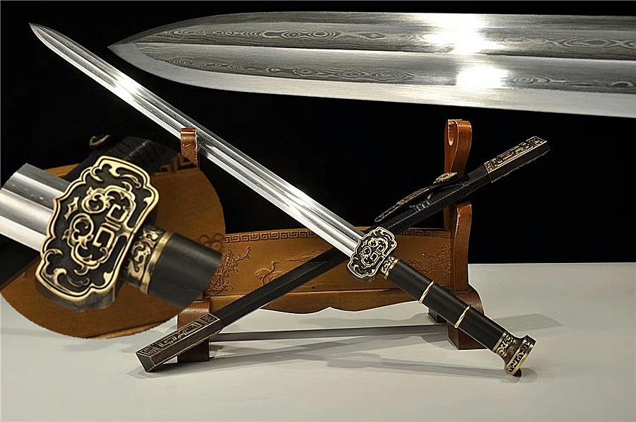 "High Quality Chinese Sword ""RuYi Jian"" Folded Damascus Steel Blade Sharp  Copper Fitting|Swords| - AliExpress"