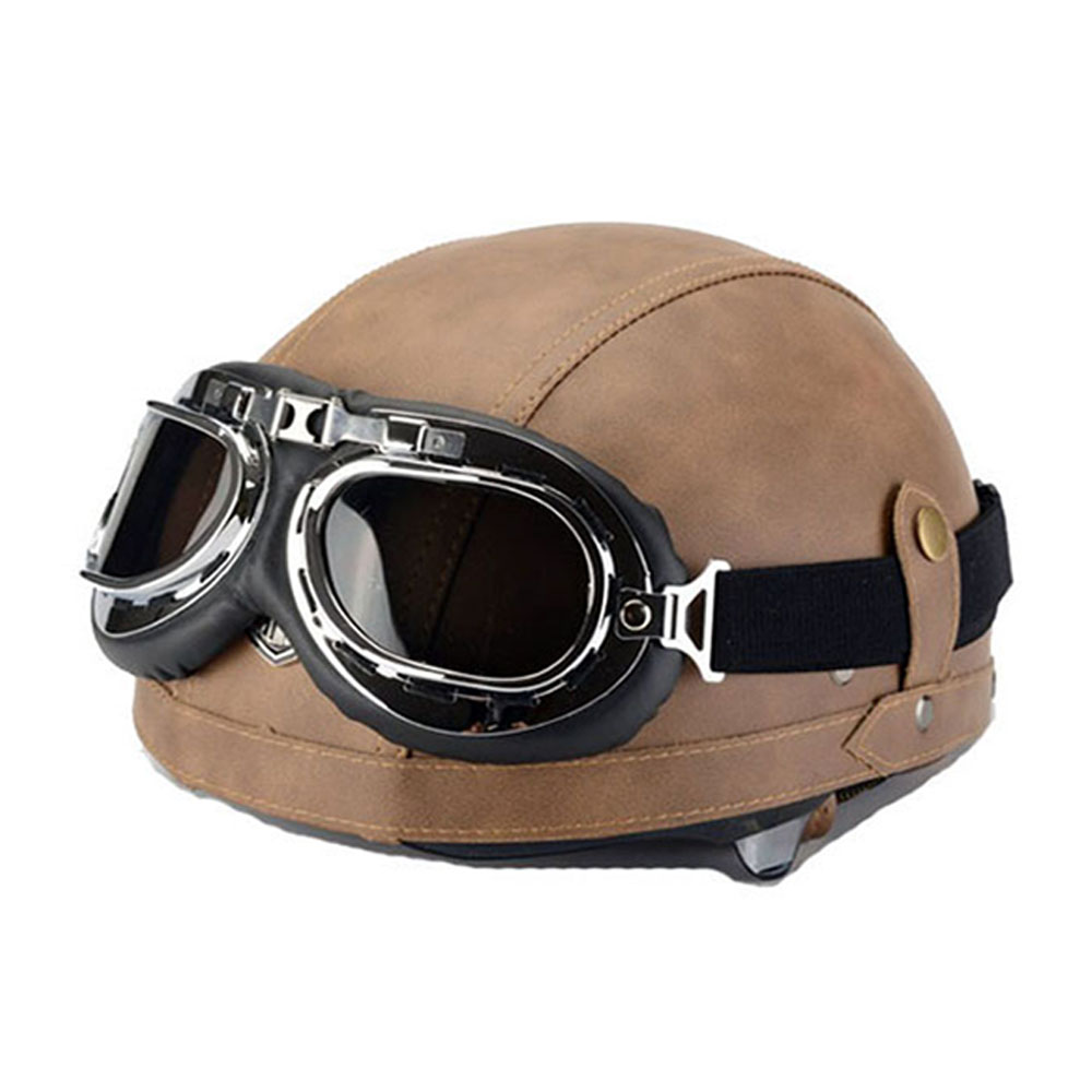 Half Motorcycle Helmets Outdoor Sport Man And Woman Black Motorcycle Racing Helmet And Motocross Goggles Scooter Crash Helmet