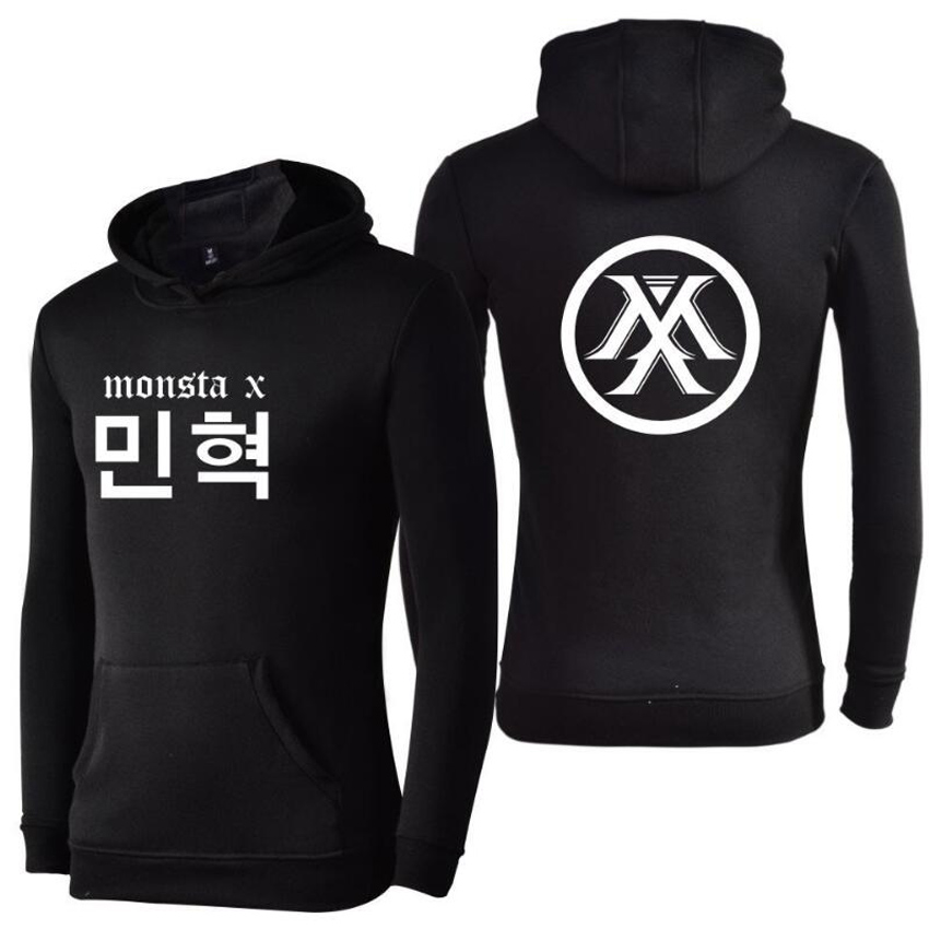 Moletom Korean K-POP Monsta X Oversized Hoodie Women Member Name Print Long Sleeve Fleece Hooded Sweatshirts Winter Jacket Men