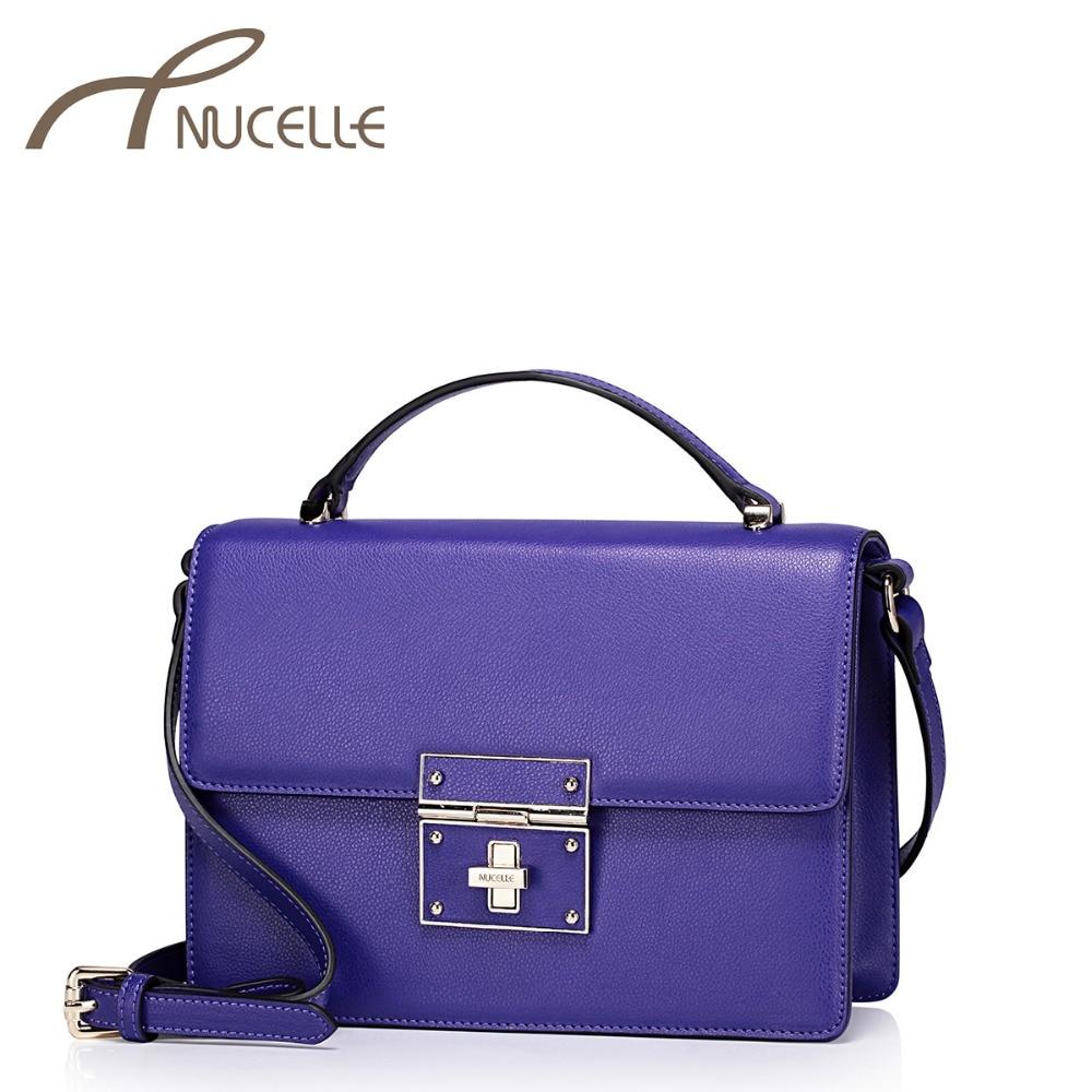 NUCELLE Female Split Leather Handbags Women Vintage Lock Tote Crossbody Purse Ladies Retro Leather Flap Messenger Bags 1170754