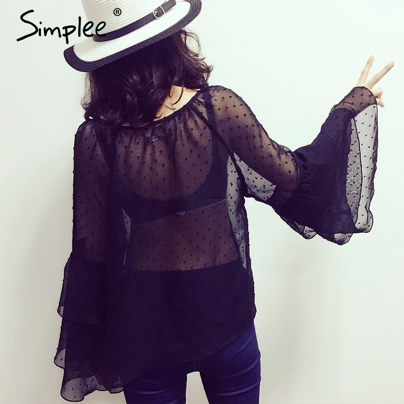 Simplee Sexy chiffon blouse shirt women tops Summer ruffle blouse chemise femme transparent long sleeve blouse camisa female