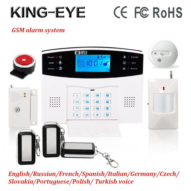 Polish/Russian 433 mhz Wireless GSM SMS autodial smart anti-theft home security alarm system kit with heat+smoke alarm system russian phrase book