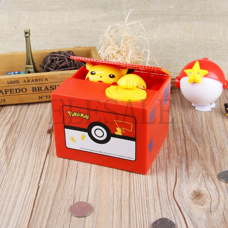 New Cute Pokemon Auto Steal Coin Piggy Bank Electronic Plastic Money Safety Box Coin Bank Saving Box For Kids Birthday Giftbox brandbox coinbox box -