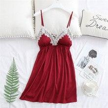 Daeyard vestido de verano para mujer, bata de dormir sin mangas de satén de seda, Sexy, de encaje, suave, con almohadillas en el pecho