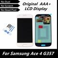 100% Оригинал ДИСПЛЕЙ для Samsung Galaxy Ace 4 SM-G357 G357 G357FZ ЖК-Дисплей с Сенсорным Экраном Дигитайзер Ассамблеи Белый Цвет