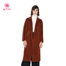 2017 New Time-limited Solid Full Double Breasted Turn-down Collar Button Regular Coats Winter Coat Bayan Kaban 81%-90% Wool