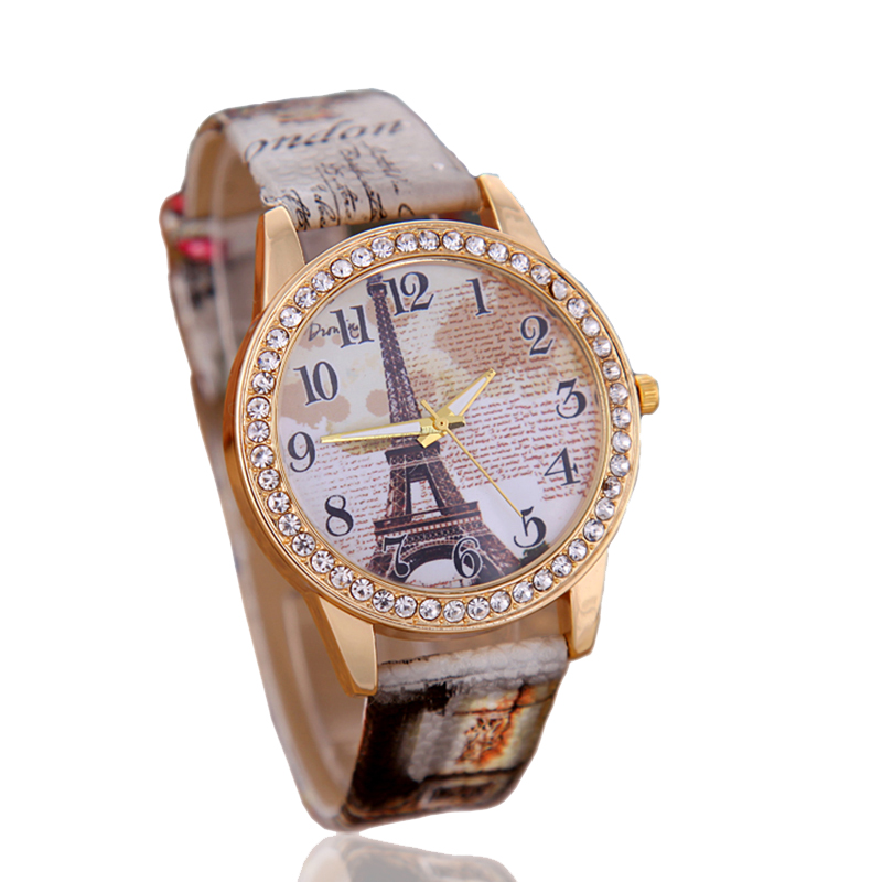 Fashion Eiffel Tower Quartz Vintage Leather Watch Women Students Retro Wrist Watches Ladies rhinestone Casual watch woman clock стенка мебелеф 5