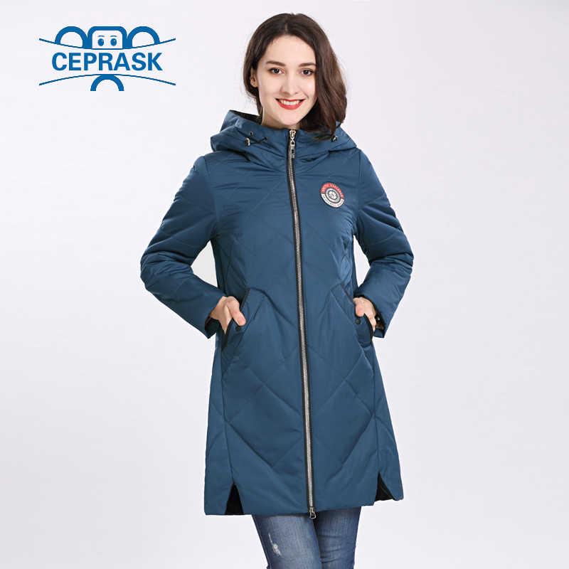 여성 코트 봄 가을 2020 뜨거운 판매 얇은 면화 파카 긴 플러스 크기 후드 여성 자켓 새로운 디자인 패션 CEPRASK