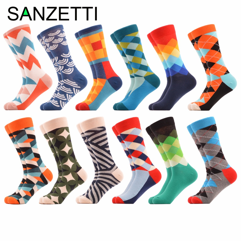 Sanzetti 12 Pair/lot Creative Mens Combed Cotton Casual Dress Wedding Socks Colorful Novelty Geometric Pattern Funny Crew Socks Underwear & Sleepwears