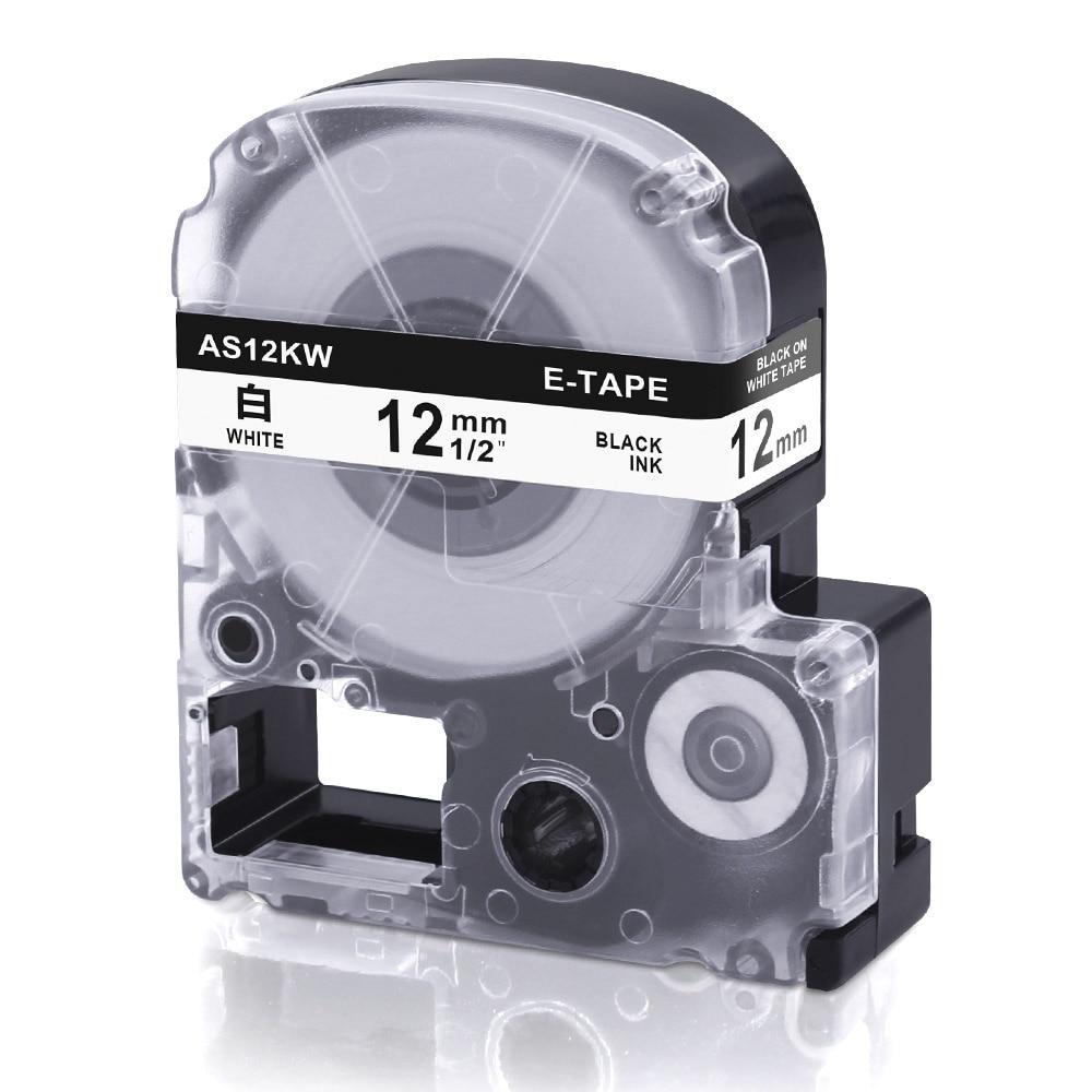 1 Stücke Label Bänder Ss12kw Kompatibel Für Epson Lw-300 Lw-400 Lw-600p Lw-700 Lc-4wbn9 Drucker (12mm * 8 Mt Schwarz Auf Weiß) Label Maker