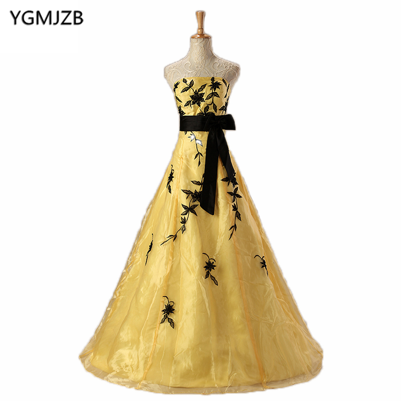 Elegant Long   Prom     Dresses   2018 Ball Gown Strapless Floor Length Embroidery Gold Evening   Dress   Women African Formal Evening Gown