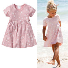 Kids Infant Baby Girls Love Heart 100% Cotton Princess Party Dress Beach Dresses