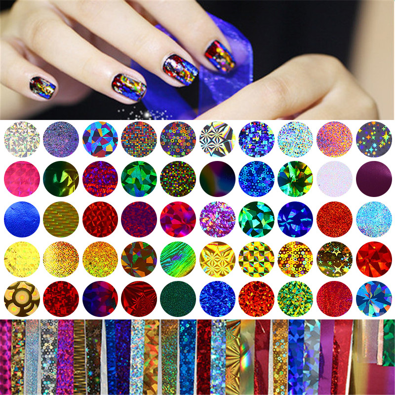 50Pcs Shimmer Starry Sky Nail Foil Colorful Nail Starry Glitter Transfer Sticker Manicure Nail Art Decoration 1 roll 4cm 120m gold silver holo starry sky nail foil tape nail art transfer sticker nail art decoration tools