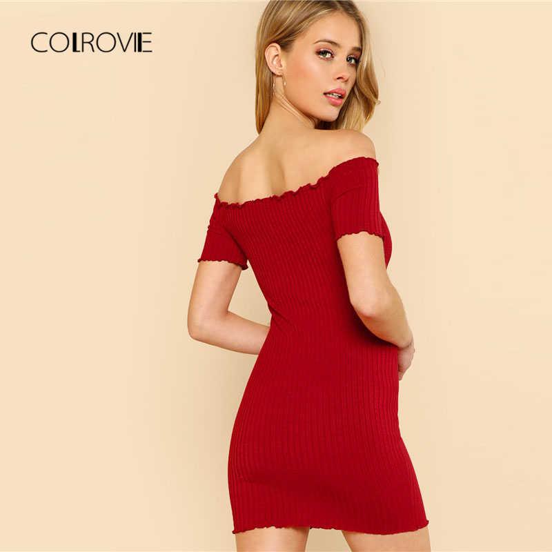 7f1006166f55 ... COLROVIE Lettuce Edge Detail Ribbed Bardot Dress 2018 Summer Red Short  Sleeve Short Female Dress Off ...