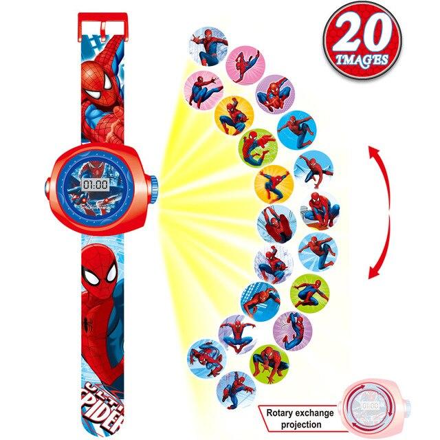 2019 QMXD Marca NOVO Relógio de Presente do Dia das Crianças das Crianças Dos Desenhos Animados 3D Projeção Spiderman Crianças Brinquedos de Presente Do Menino Da Menina relógio Digital de