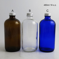 480ml High Quality Blue Clear Deep Amber 16 Oz Beauty Boston Round Glass Bottle With Silver