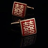 Mode-chinesischen stil manschettenknöpfe französisch nagelhülse gold kostenloser versand
