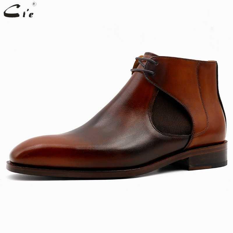 CIE квадратный плоские, для пальцев на ногах из натуральной телячьей кожи с натуральным лицевым покрытием коричневый с оттенком патины ручной работы кожаные ботинки челси со шнуровкой мужские scarpeA05