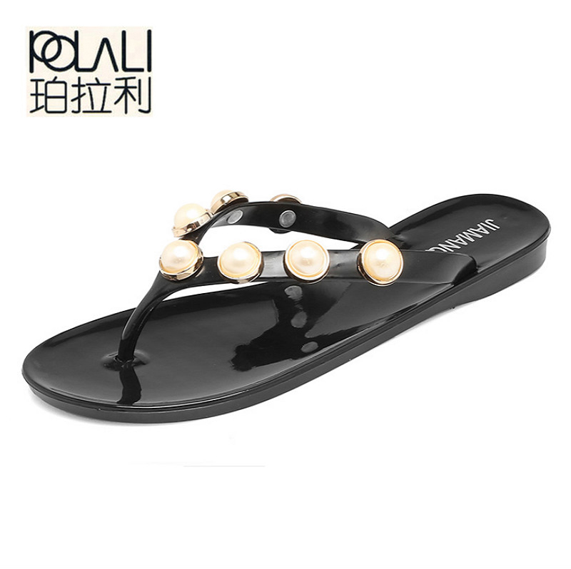 6a2a4908e4569 POLALI Women Slippers Summer Beach Slippers Flip Flops Sandals Women Pearl  Fashion Slippers Ladies Flats Shoes Free shipping-in Flip Flops from Shoes  on ...