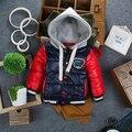 2015 Marca Bebê Menino Coreano Europa Projeto do Outono Inverno Quente Forro de Lã Crianças Casacos Com Capuz Casaco de Algodão-Acolchoado Casacos