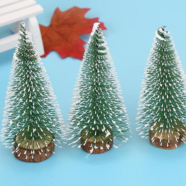 10cm mini stick white christmas trees ornament xmas new year desktop decor - Mini White Christmas Tree