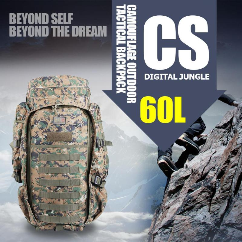 60L Outdoor Multi-use Military Backpack Pack Rucksack Tactical Bag for Hunting Camping Trekking Hiking Travel Climbing Bags sports travel airsoft tactical knapsack camping climbing backpack 600d nylon hiking hunting vintage military bag camouflage