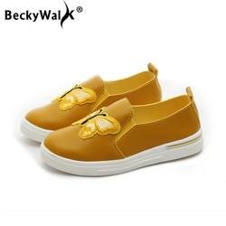 Осенняя детская обувь без шнуровки, размеры 27-36 повседневная обувь из искусственной кожи для мальчиков и девочек мягкие удобные детские