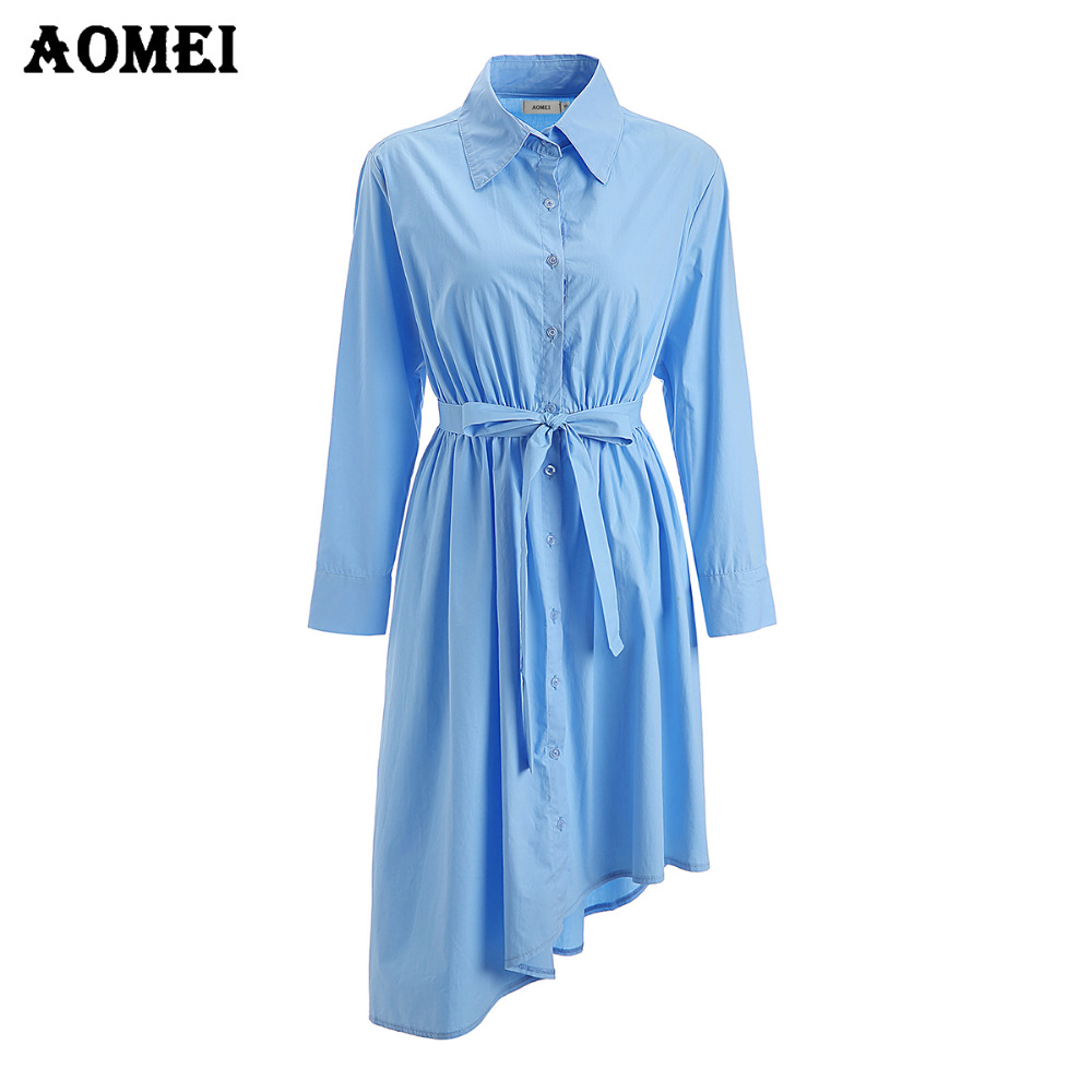 Cerulean Blue Modest Day Work Dress Office Ladies Irregular Long ...