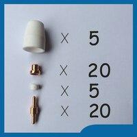 50pcs PT 31 LG 40 Plasma Cutting Cutter Torch Consumables KIT Electrodes TIPS Nozzles Fit CT