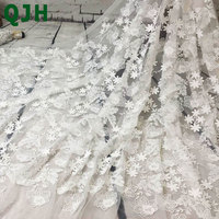 New Pure White 1 Yard Floral Pattern 3D Embroidered Lace Fabric African Swiss Voile Lace Milk