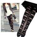 Women Sexy Pant yhose Black Ripped Stretch Vintage Legging Mock Black Transparent Women leggings 3084