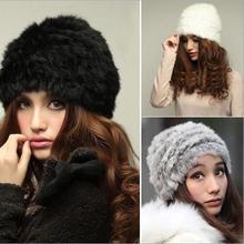 Winter Fur Beanies Women Handmade Knitted Natural Rabbit Fur Caps Real Fur Hats Female 3 Colors MS-19