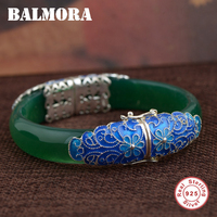 BALMORA 925 Sterling Silver Bangles for Women Gift Flower Pattern Vintage Fashion Jewelry about 18cm Enamel Bracelet MN50092