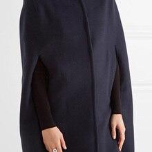 Doudoune UK осень/зима темно-синее шерстяное пальто-накидка пальто женское Модное пончо manteau femme